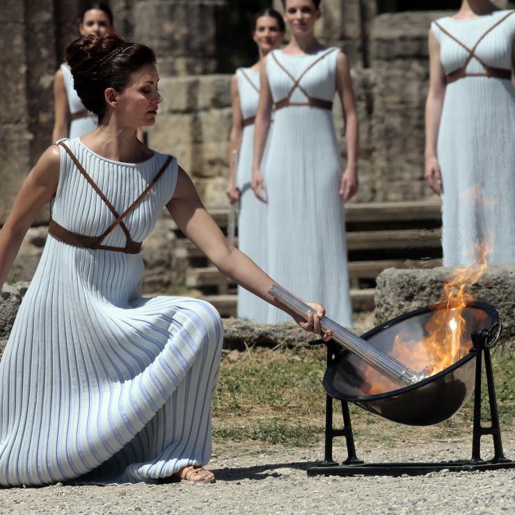 Flamme olympique à Athènes
