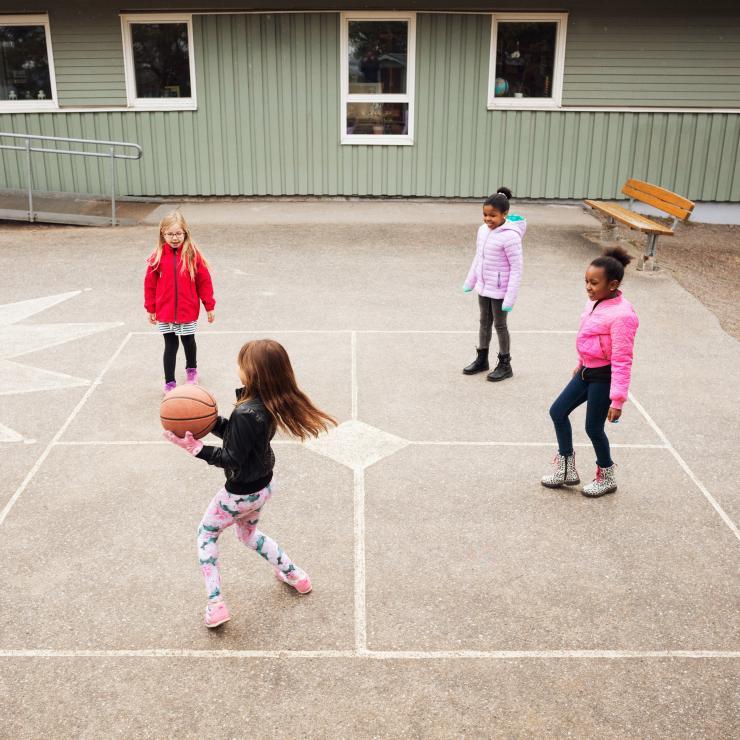 Petites filles jouant au basket